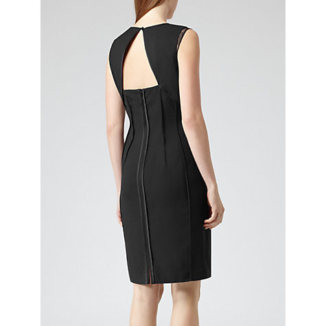Buy Reiss Amore Lace Panel Shift Dress, Black Online at johnlewis.com