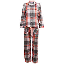 Buy Cyberjammies Joyce Check Pyjama Set, Grey / Peach Online at johnlewis.com