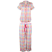 Buy Cyberjammies Bern Check Pyjamas, Coral / Blue Online at johnlewis.com