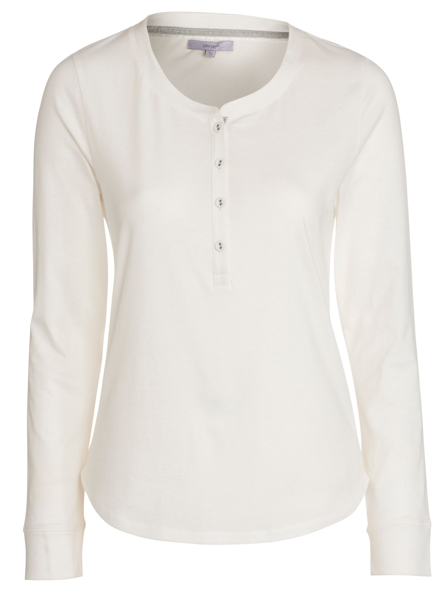 John Lewis Long Sleeve Lounge Top, Ivory