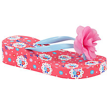 Buy John Lewis Floral Print Wedge Flip Flops, Pink/Multi Online at johnlewis.com