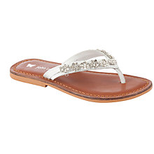 Buy John Lewis Girl Sophie Diamante Sandals, White/Tan Online at johnlewis.com