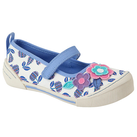 Buy John Lewis Girl Flowered Fruit Canvas Mary Janes, Cream/Purple Online at johnlewis.com