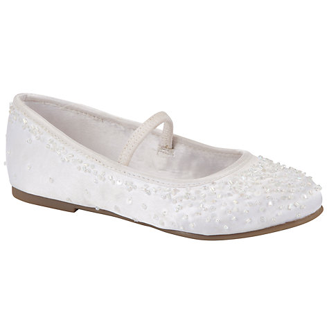 Buy John Lewis Girl Floral Sequin Shoes, White Online at johnlewis.com