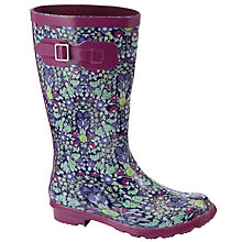Buy John Lewis Girl Daisychain Print Wellington Boots, Purple/Multi Online at johnlewis.com