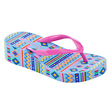Buy John Lewis Aztec Wedge Flip Flops, Pink/Multi Online at johnlewis.com