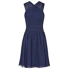 Buy Reiss Boleyn Cross Front Silk Dress, Navy Online at johnlewis.com