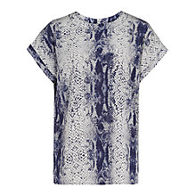 Buy Reiss Eleanor Snake Top, Indigo Online at johnlewis.com
