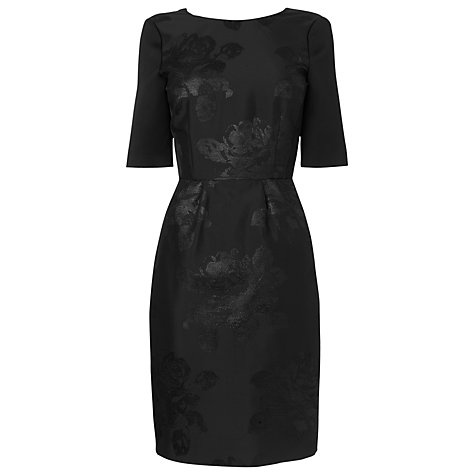 Buy L.K. Bennett Lichen Jacquard Floral Embroidery Dress, Black Online at johnlewis.com