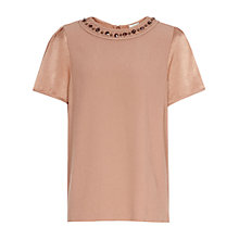 Buy Reiss Topaz Embellished Top, Apricot Online at johnlewis.com