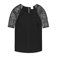 Buy Reiss Roxy Mesh Sleeve Top, Black Online at johnlewis.com