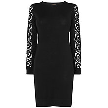 Buy Jaeger Lace Sleeve Knitted Dress, Black Online at johnlewis.com