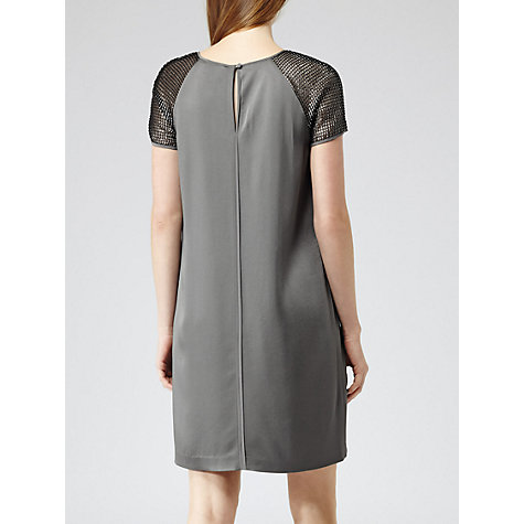 Buy Reiss Zowie Mesh Sleeve Dress, Storm Grey Online at johnlewis.com