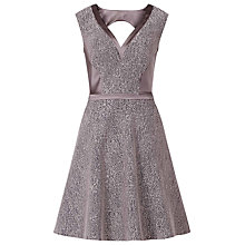 Buy Reiss Ella Satin Panel Lace Dress, Navy/Cherry Online at johnlewis.com
