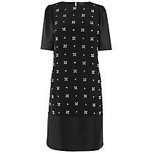 Buy Jaeger Embellished Front Dress, Black Online at johnlewis.com
