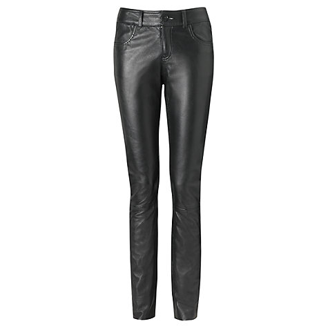 Buy Jigsaw Leather Trousers, Black Online at johnlewis.com