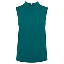 Buy Oasis High Neck Ponte Top, Turquoise Online at johnlewis.com