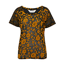 Buy Miss Selfridge Floral Burnout T-Shirt, Ochre Online at johnlewis.com