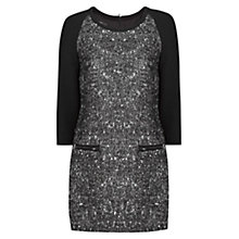 Buy Mango Herringbone Dress, Black Online at johnlewis.com