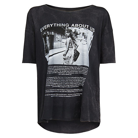 Buy Mango 'Everything About Us' Print T-Shirt, Light Pastel Grey Online at johnlewis.com