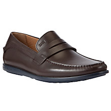 Buy BOSS Dubio Leather Penny Loafers, Brown Online at johnlewis.com