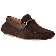 Buy BOSS Drenno Suede Driver Loafers, Brown Online at johnlewis.com