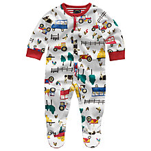 Buy Baby Joule Ziggy Tractor Sleepsuit, Cream Online at johnlewis.com