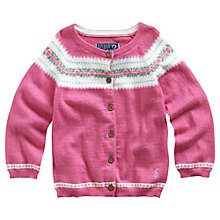 Buy Baby Joule Gretal Fair Isle Cardigan, Pink Online at johnlewis.com