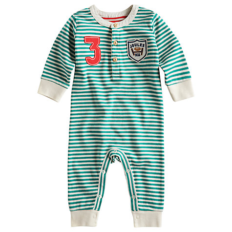 Buy Baby Joule Hobart Striped Sleepsuit, Green Online at johnlewis.com