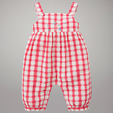Buy John Lewis Check Cotton Playsuit, Pink/White Online at johnlewis.com