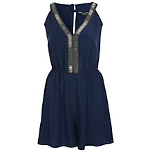 Buy Miss Selfridge Metallic Trim Playsuit, Navy Online at johnlewis.com