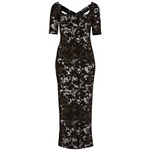 Buy Miss Selfridge Foil Textured Midi Dress, Black Online at johnlewis.com