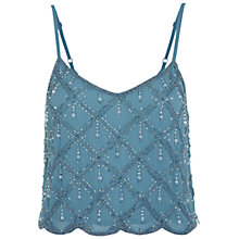 Buy Miss Selfridge Diagonal Embellished Camisole Top, Mint Green Online at johnlewis.com