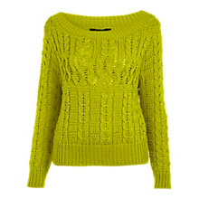 Buy Miss Selfridge Cable Jumper, Chartreuse Online at johnlewis.com