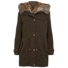Buy Miss Selfridge Faux Fur Lined Parka, Khaki Online at johnlewis.com