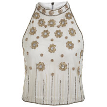 Buy Miss Selfridge Turtle Neck Embellished Top, Cream Online at johnlewis.com