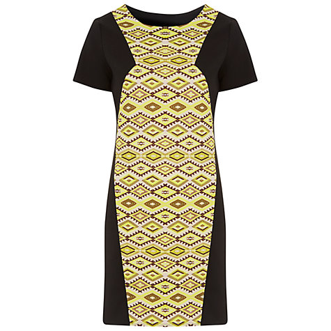 Buy Miss Selfridge Printed Panel Shift Dress,Yellow/Black Online at johnlewis.com