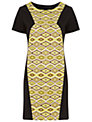 Miss Selfridge Printed Panel Shift Dress,Yellow/Black