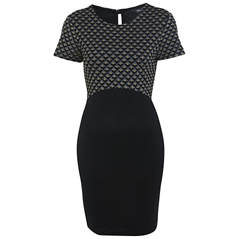 Buy Miss Selfridge Quilted Lurex Bodycon Dress, Black Online at johnlewis.com