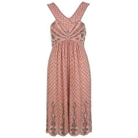 Buy Miss Selfridge Pinny Embellished Dress, Pink Online at johnlewis.com