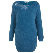 Buy Miss Selfridge Eyelash Tunic Jumper, Teal Online at johnlewis.com