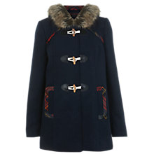 Buy Miss Selfridge Check Trim Duffle Coat, Navy Online at johnlewis.com