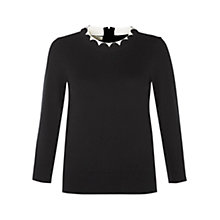 Buy Hobbs Milly Jumper, Black/Ivory Online at johnlewis.com