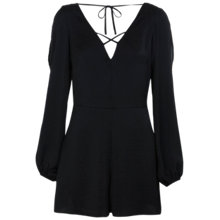 Buy Miss Selfridge Satin Playsuit, Black Online at johnlewis.com