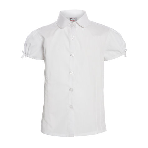 Buy John Lewis Girls' Short Sleeve Easy-Care Pintuck School Blouse, White Online at johnlewis.com
