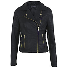 Buy Miss Selfridge Faux Leather Biker Jacket, Black Online at johnlewis.com
