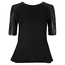 Buy Ted Baker Wilowe Leather Top, Black Online at johnlewis.com