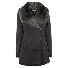Buy Warehouse Faux Fur Coat, Light Grey Online at johnlewis.com