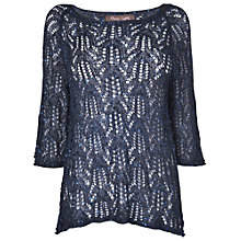 Buy Phase Eight Paulina Pointelle Sequin Jumper, Navy Online at johnlewis.com