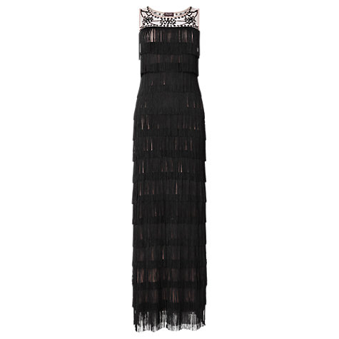 Buy Phase Eight Lucille Fringe Maxi Dress, Black Online at johnlewis.com